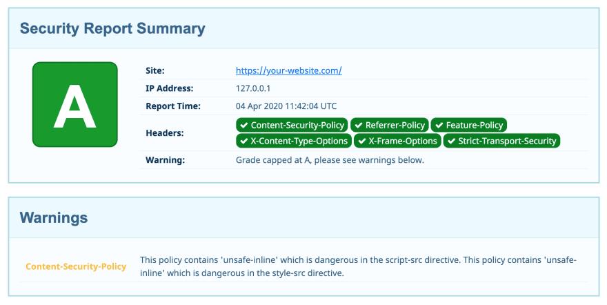 SecurityHeaders.com report