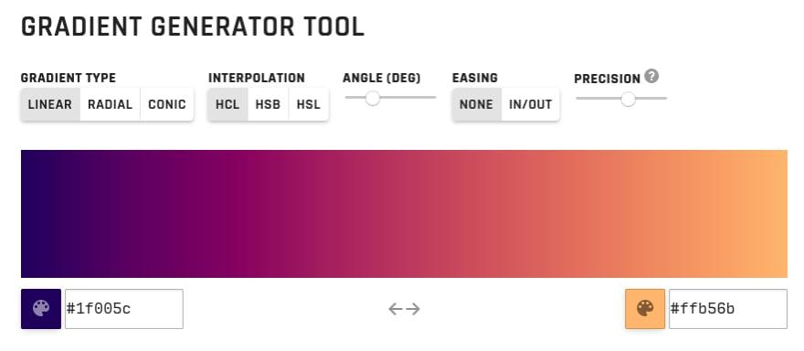 Screenshot of the Gradient Generator Tool