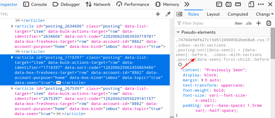 The Previously seen CSS rules