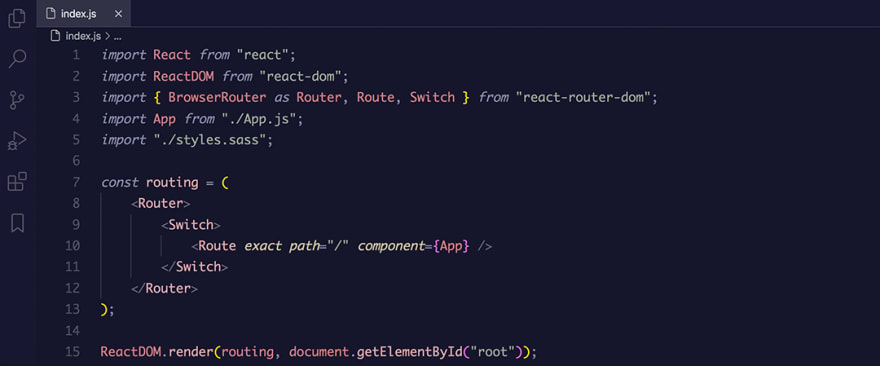React code snippet with the Rouge 2 theme