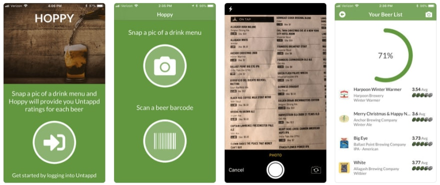 hoppy app screens