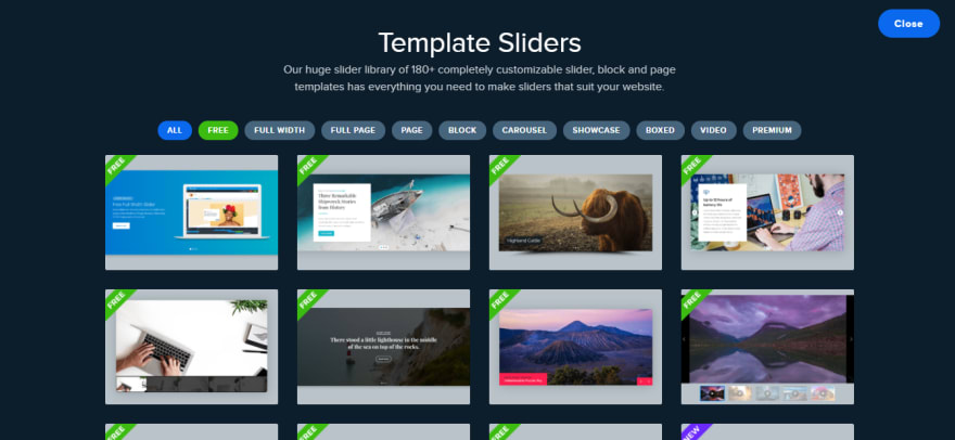 Start with a slider Template