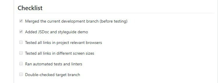 Pull request checklist example