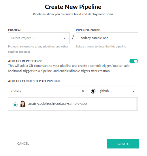 Create new Codefresh Pipeline