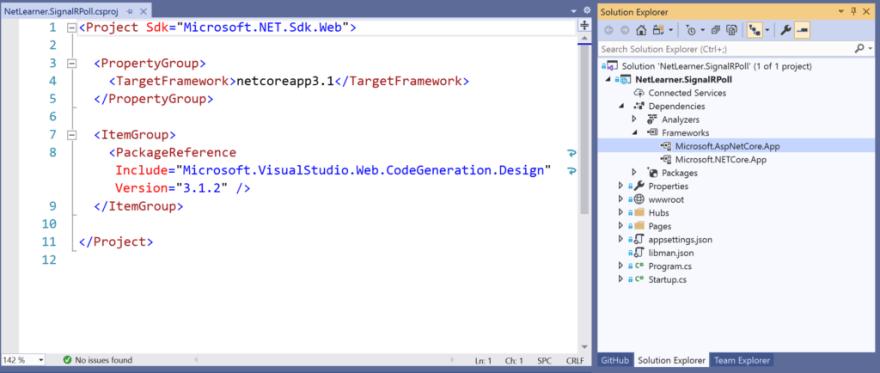Visual Studio showing csproj + dependencies