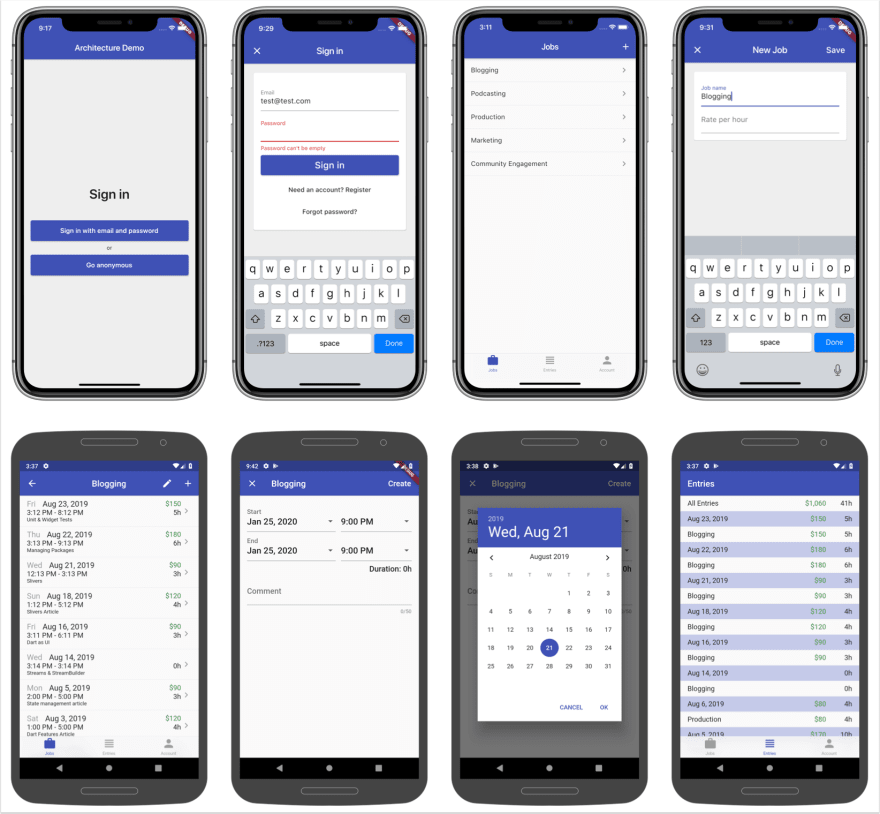 Screenshots for the time tracker app