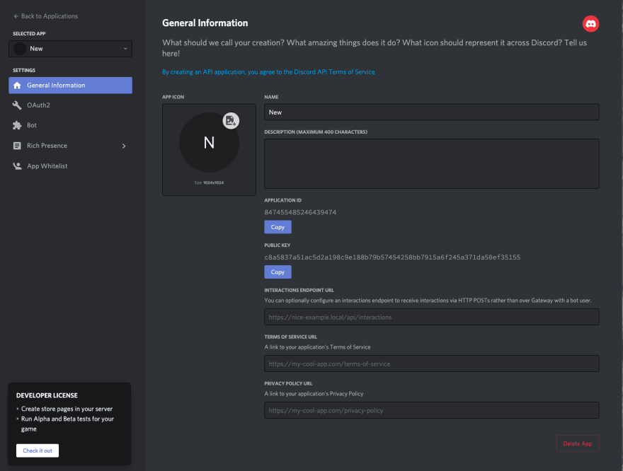 a screenshot of the Discord developer portal after a new application is created in the general information screen. There's information about the new bot application including the application ID.