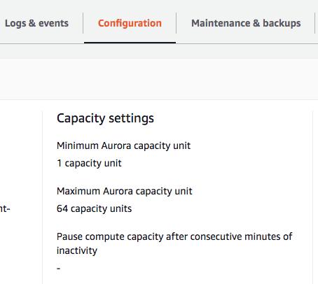 AWS UI Console RDS configuration