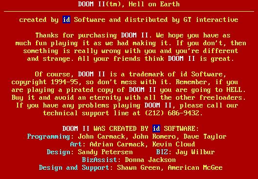 Final credit of Doom II by Id Software