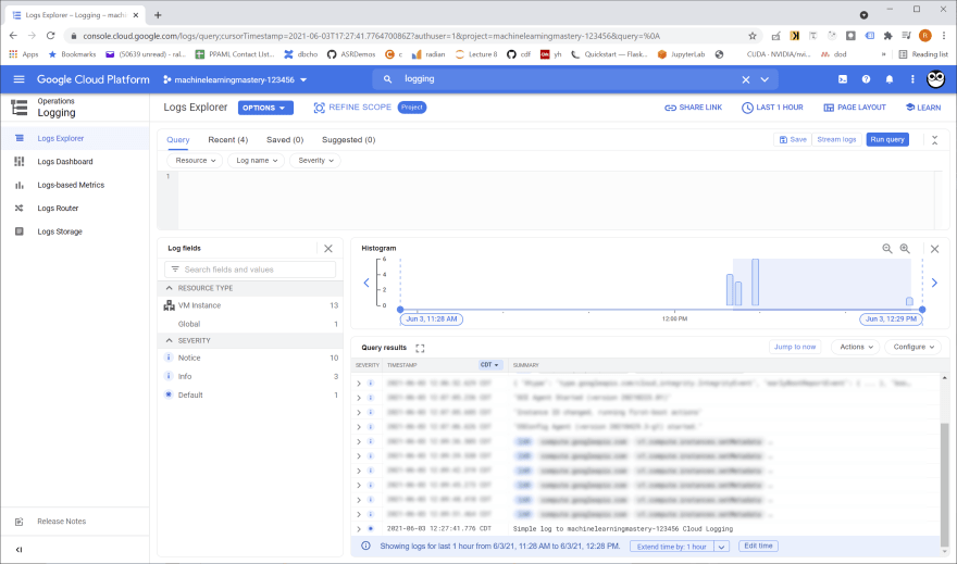 Google Cloud Log Explorer