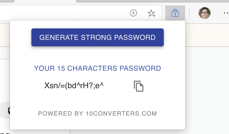 Strong Password Generator Screenshot