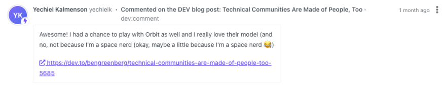 Example of DEV comment added to Orbit