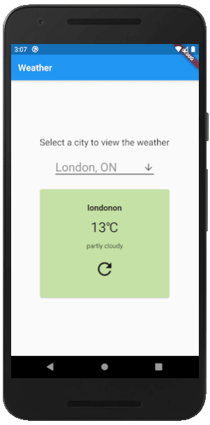 Flutter Weather App On Mobile