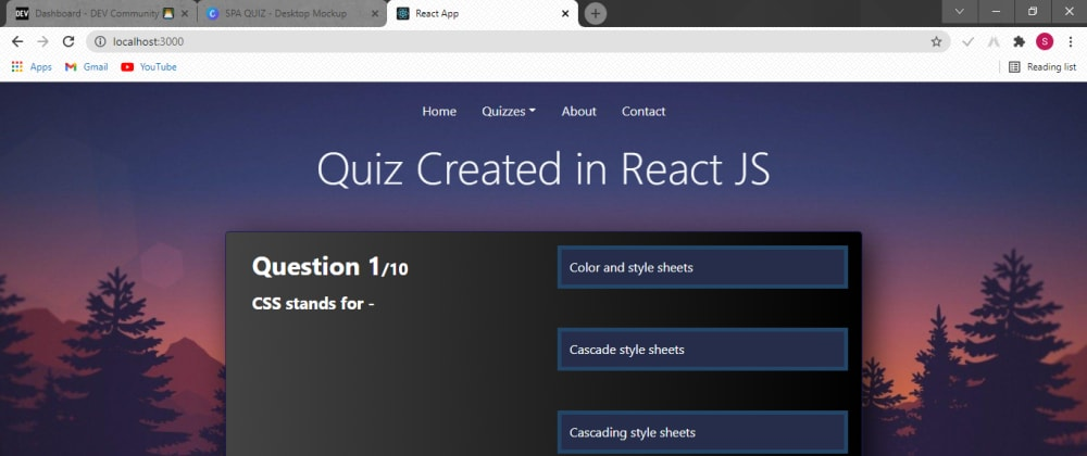 Cover image for Single Page Application Quiz in React