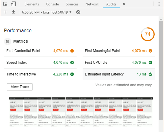 Chrome Dev Tools Performance Metrics