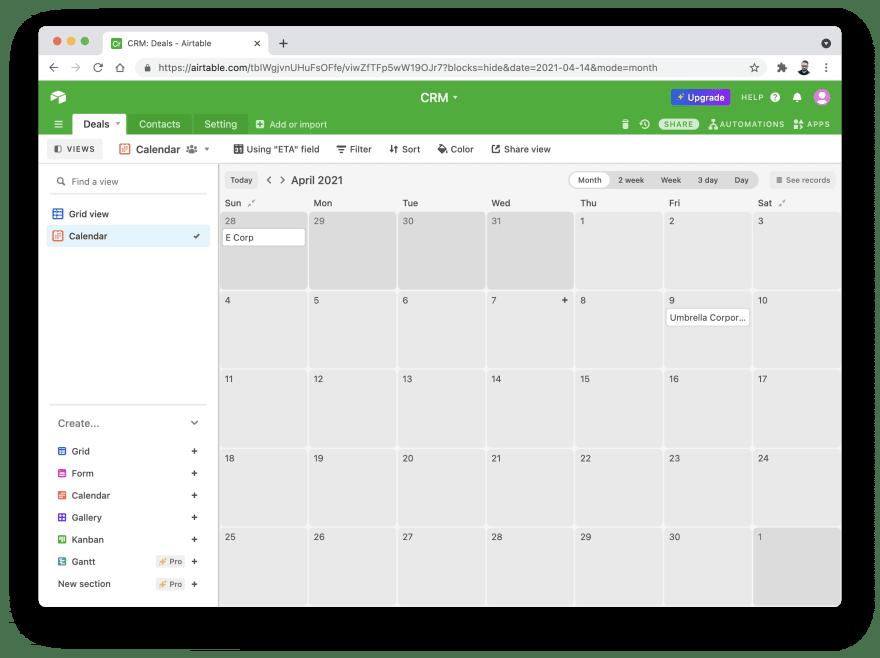 [Airtable](https://airtable.com) — example of calendar view