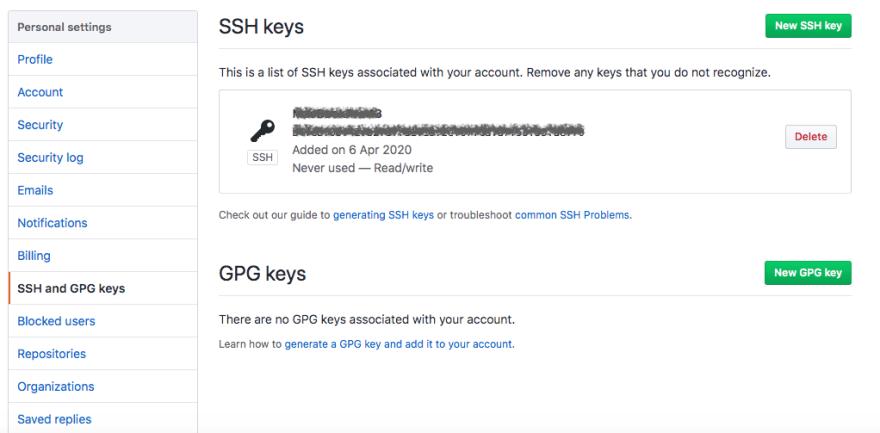 GitHub SSH Settings