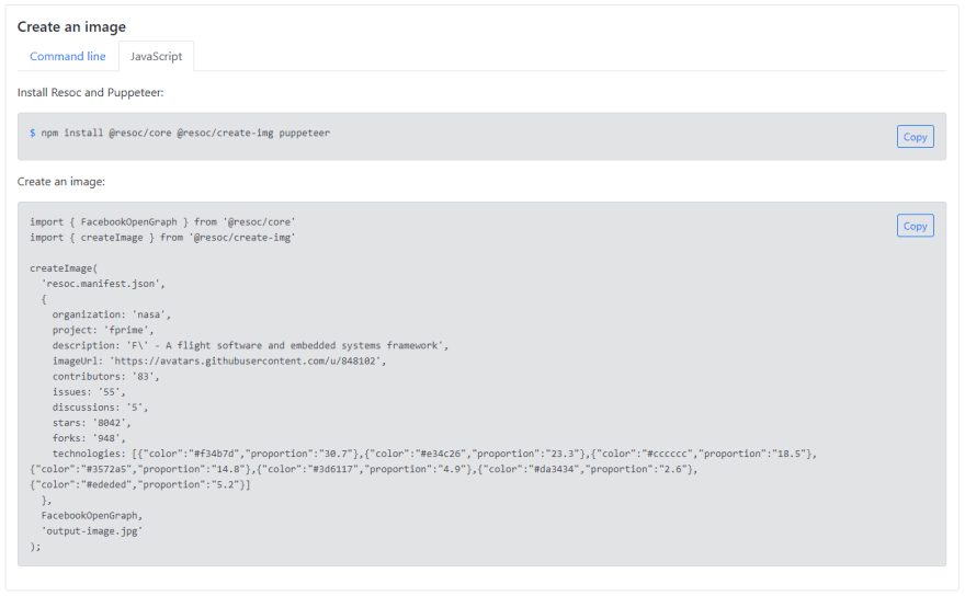 Create image from JavaScript