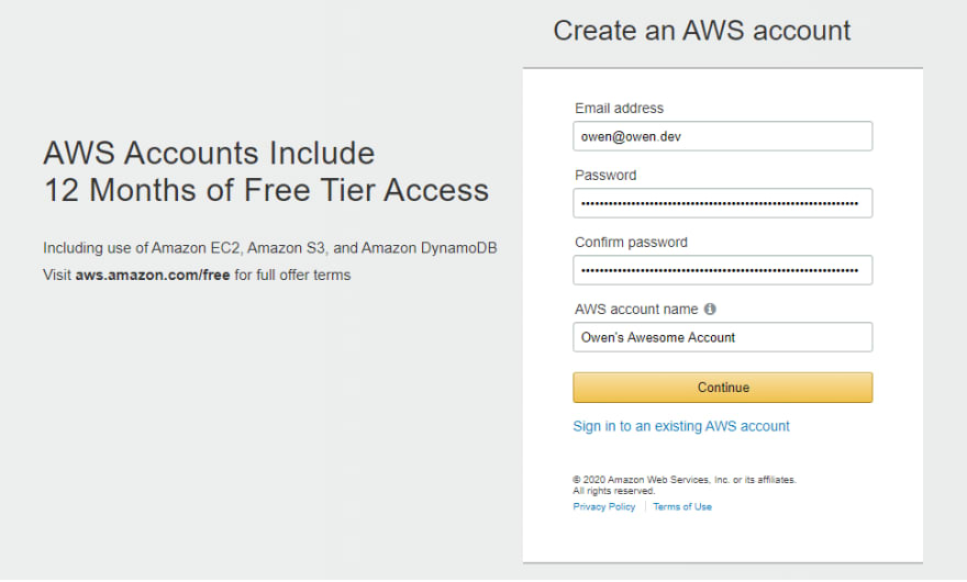Signing up for an AWS Account