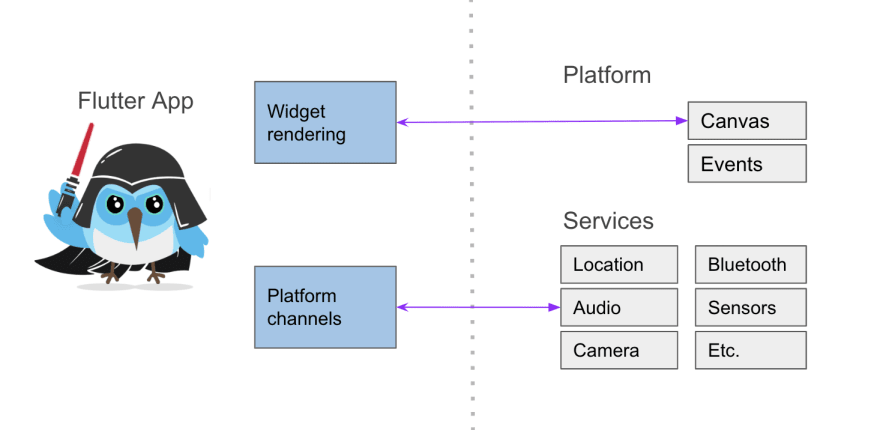 Flutter app (single codebase), rendering happens in the platform canvas and device services are accessed using Platform Channels<br>