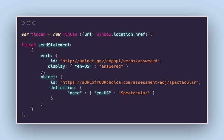 visual of the code to send statements