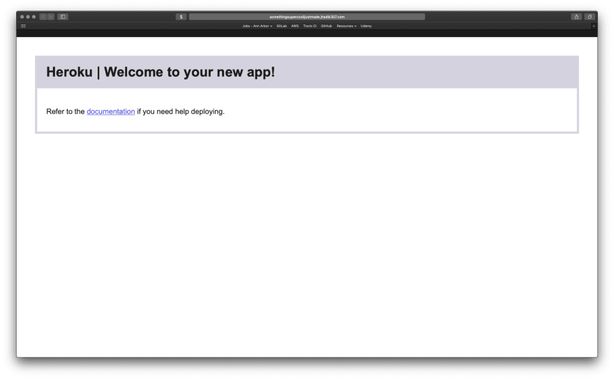 Image of new Heroku site.