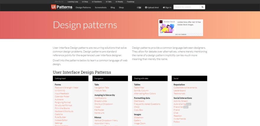 Screenshot of website ui-patterns.com