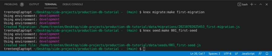 Create Migration And Seed Terminal