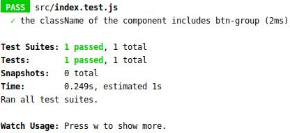 Screenshot of a green test