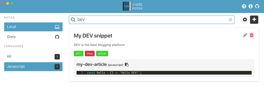 Retrieve snippets quickly on Code Notes