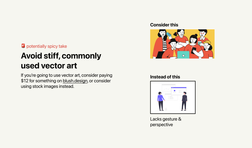 Two illustrations of people. The first illustration is colorful, with stylized figures that still look three-dimensional, and an artistic style that has significant gesture. The second is flat two dimensional figures that look stiff and rigid.