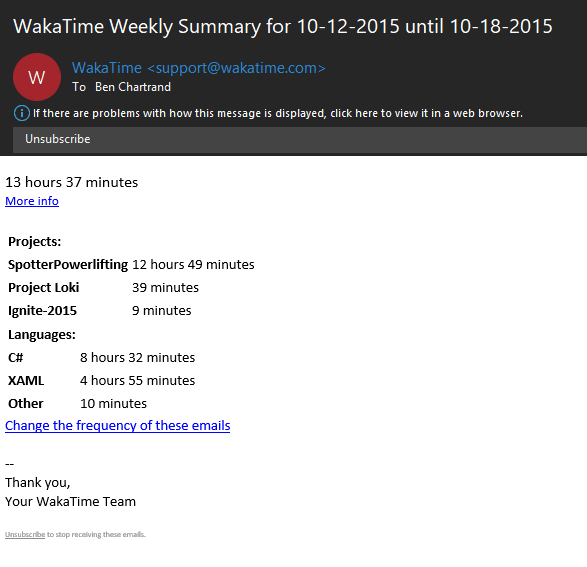 Sample weekly email from WakaTime
