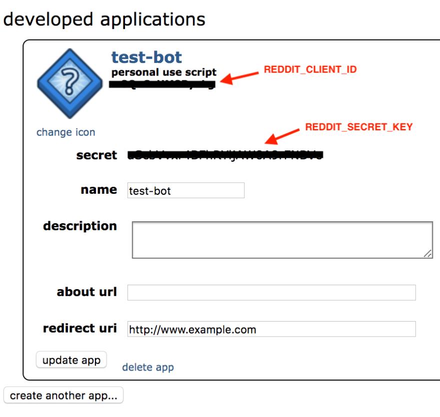 Retrieve your REDDIT_CLIENT_ID and REDDIT_SECRET_KEY