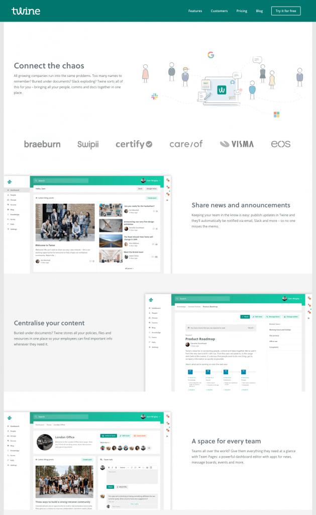 A screenshot of the twineapp.com new homepage