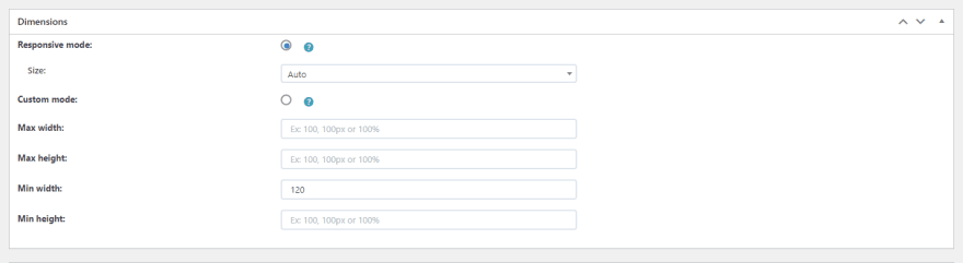 In the Dimensions section, you can customize width and length of the popup.