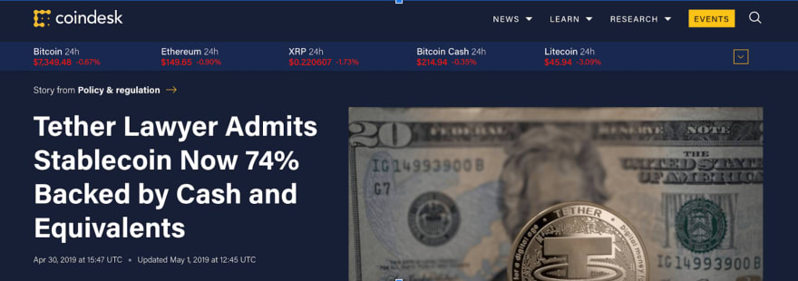 Tether Admits only 74% Collateralized