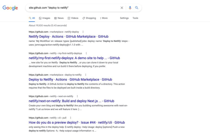 github site: search operator for deploy to netlify, pages indexed in google search screenshot