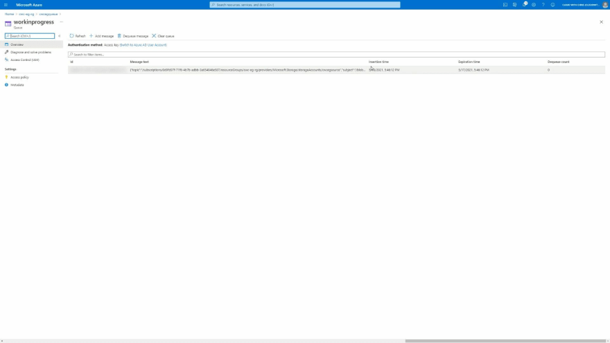 Screenshot showing a single message contained in the Azure Storage Queue