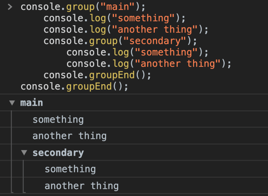 Showing nested groupings