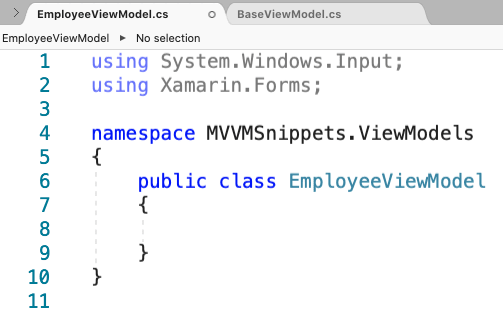 EmployeeViewModel namespaces