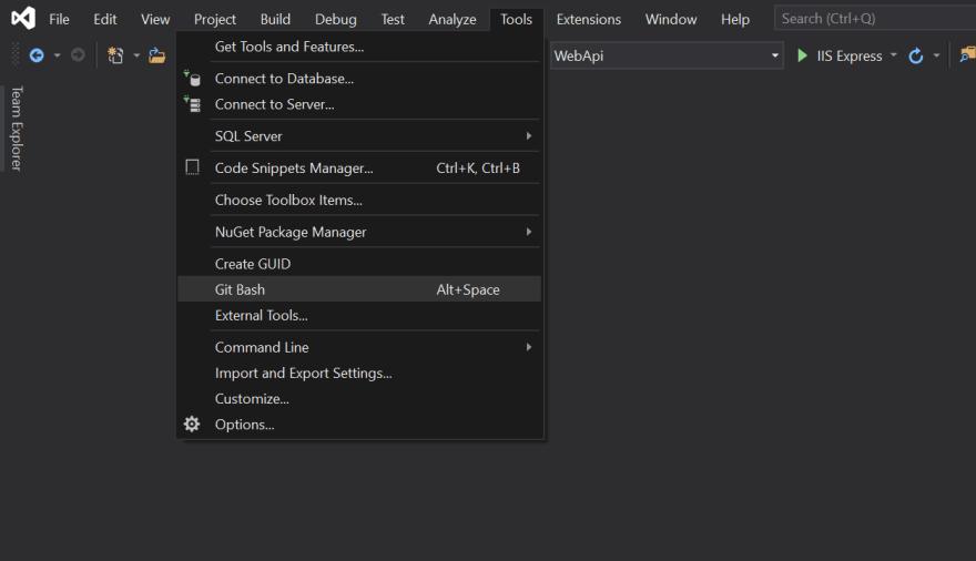 The Git Bash tool in the Visual Studio 2019 Tools menu.