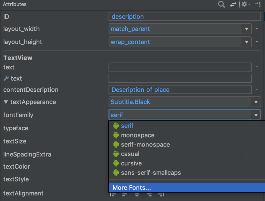 Click on font family under Attributes