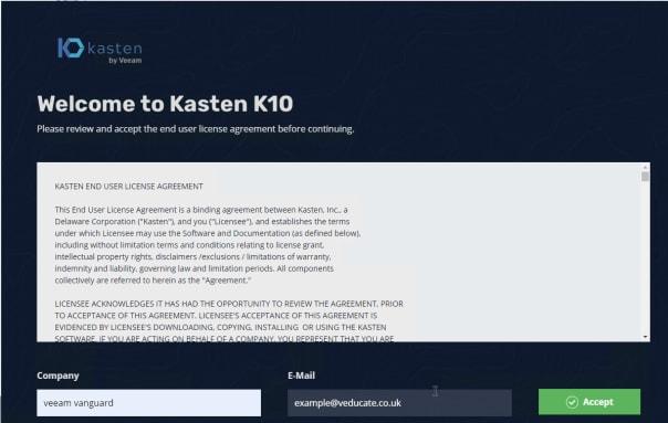 Kasten K10 - Accept the EULA