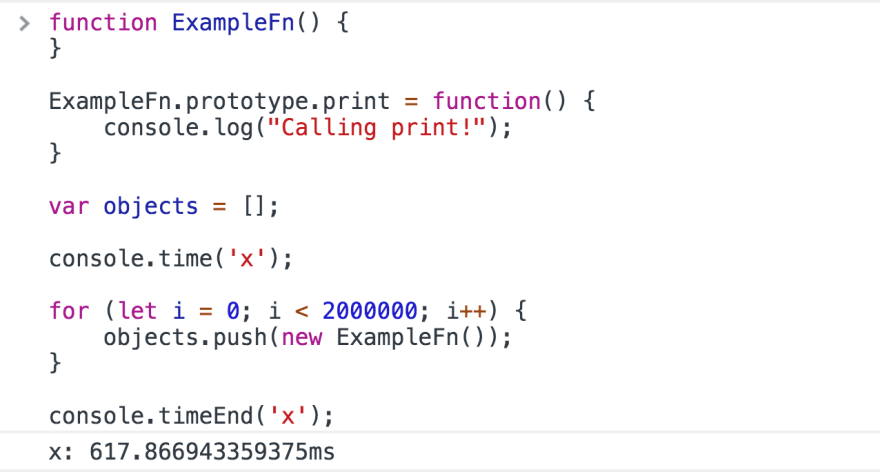 Creating new functions (left) vs. using prototypal inheritance (right)