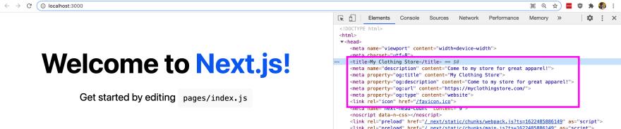 Updated metadata in Next.js app
