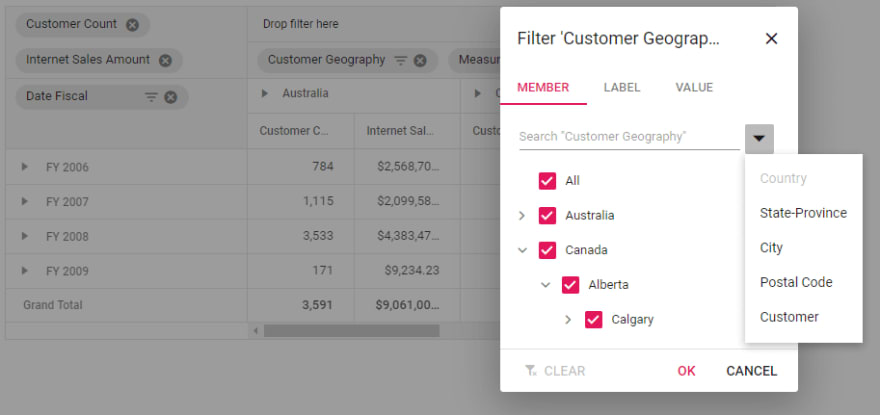 filtering in pivot table