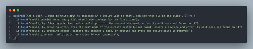 Screenshot of empty test descriptions