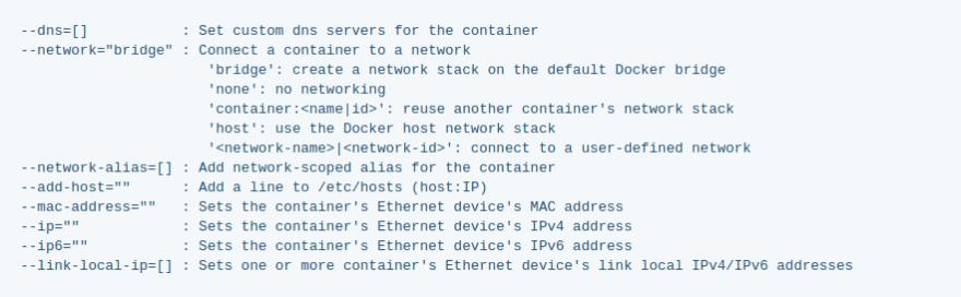 docker run network settings