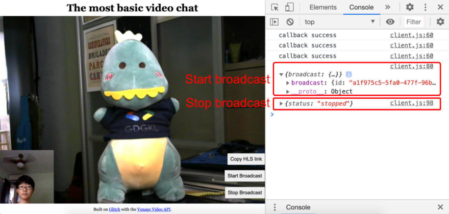 Console log messages when broadcast starts and stops