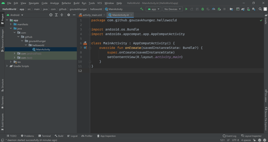 Android Studio IDE Project Screen Image